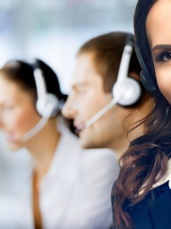 contact centre agents wearing headsets